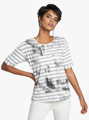 Shirt - grau-weiß-bedruckt