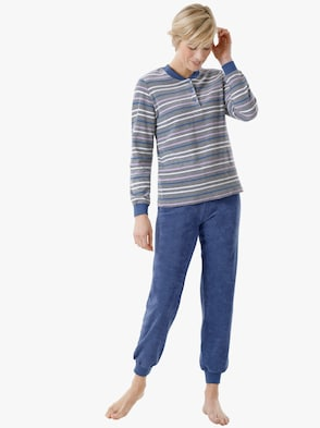 Schlafanzug - blau-geringelt