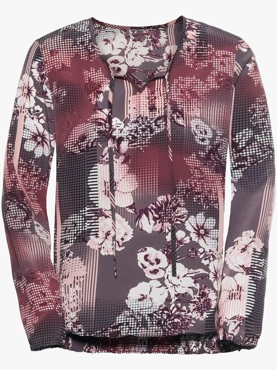 Comfortabele blouse - rozenhout geprint