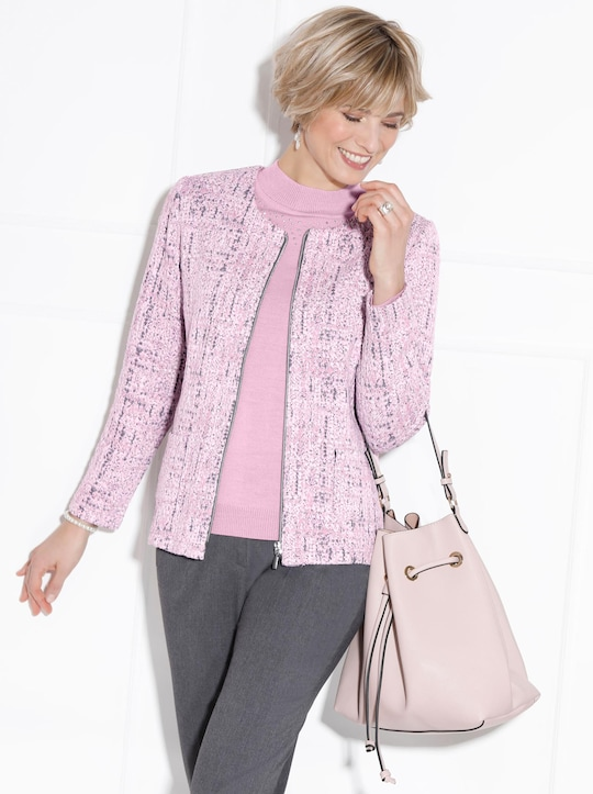 Shirtblazer - rosé-gemustert