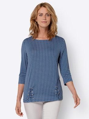 Shirt - jeansblau-weiß-gemustert