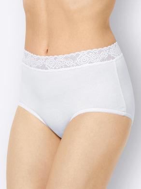 wäschepur Taillenslip - weiß + schwarz + 2x weiß-bedruckt