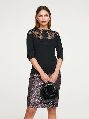 Ashley Brooke Spitzen-Pullover - schwarz