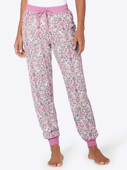 wäschepur Schlafanzug-Hose - rosé-bedruckt