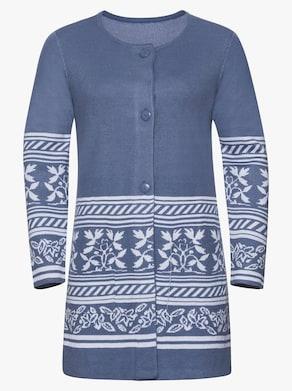 Dlhý pletený sveter - džínsová modrá vzorovaná