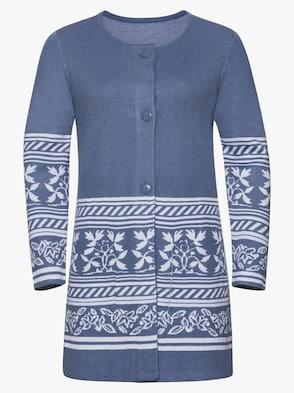 Långkofta - jeansblå, mönstrad