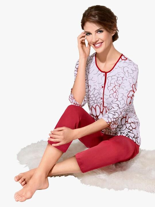 Ascafa Schlafanzug - rot-bedruckt