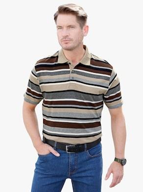 Poloshirt - beige/choco gestreept