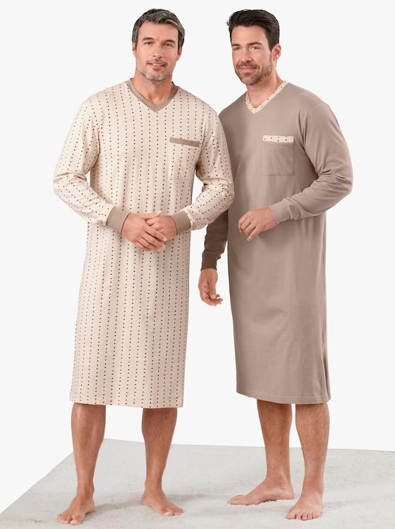 KINGsCLUB Noční košile - hnědá + béžová-potisk