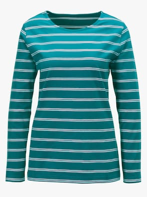 Shirt - smaragd-geringelt