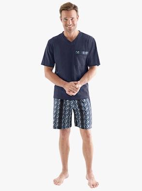 Krátké pyžamo - námořnická modrá-potisk