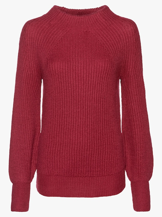 Stehkragen-Pullover - rot