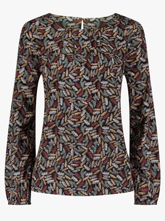 Bluse - rauchblau-braun-bedruckt