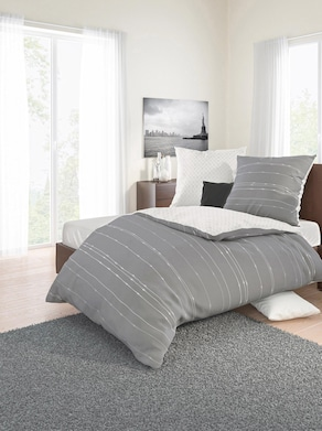 Biberna Bettwäsche - grau-weiß