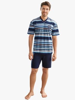 Krátké pyžamo - námořnická modrá-modrá