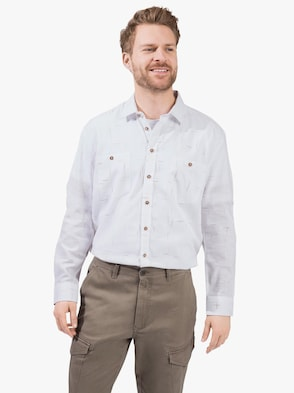 Langarm-Hemd - weiß
