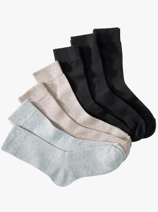 wäschepur Ponožky - 3x černá + 2x béžová + 2x světlešedá