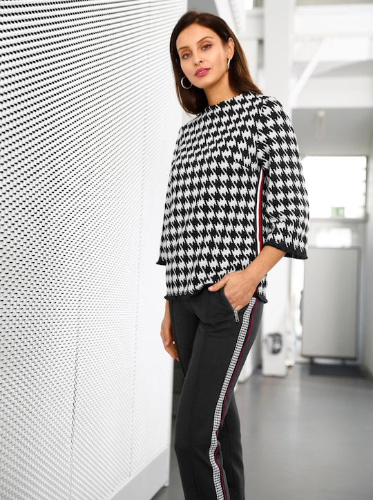 Jacquard-Shirt - schwarz-ecru-gemustert