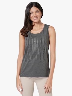 Shirttop - grijs gemêleerd