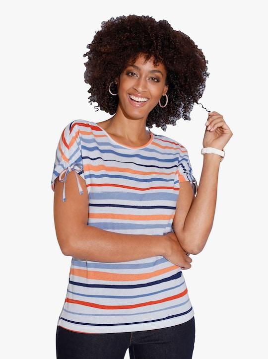Tričko - modrá-mandarinková-potisk