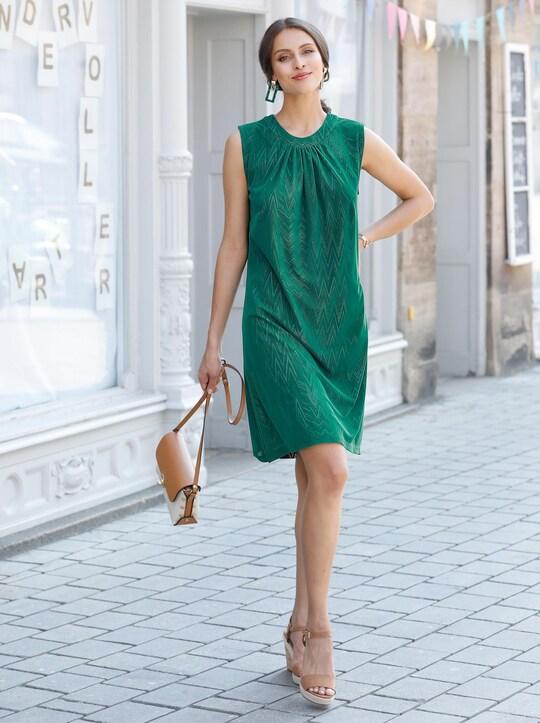 Jersey-Kleid - grün-gelb-bedruckt