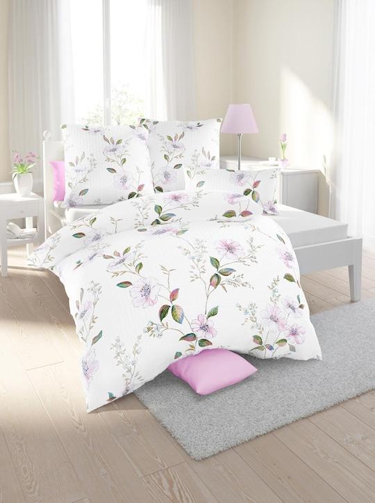 Biberna Bettwäsche - weiß-bedruckt