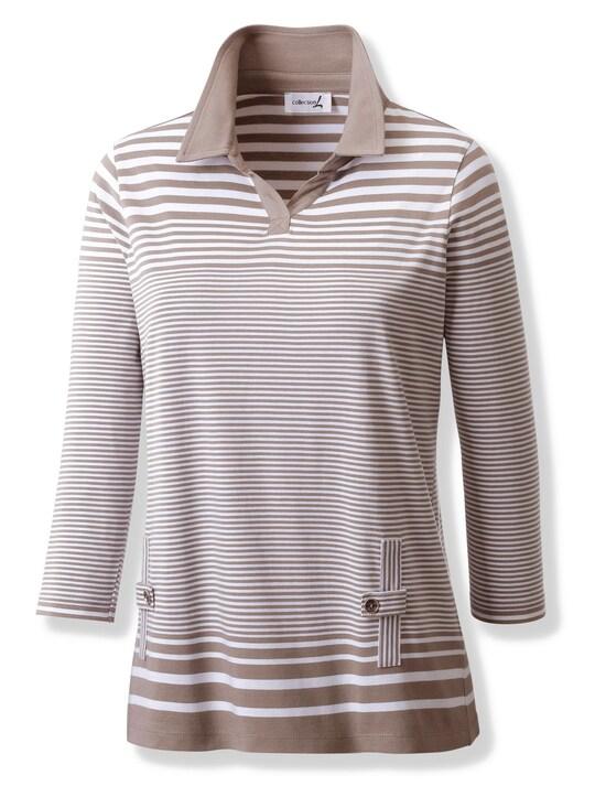Collection L Shirt - dunkeltaupe-weiß-gestreift