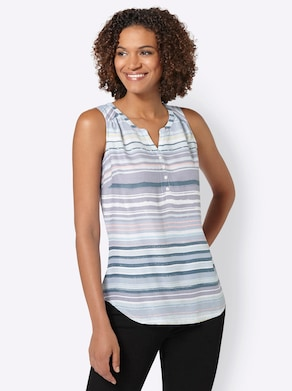 Collection L Blousetop - duifblauw/wit gestreept