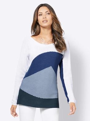 Pullover - dunkelblau-weiß-gemustert