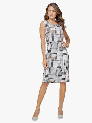 Jersey-Kleid - grau-weiß-bedruckt