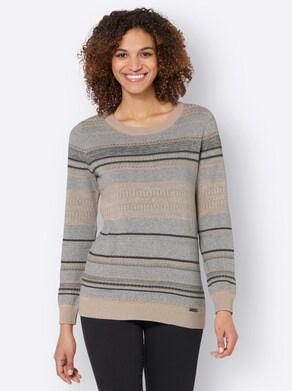 Pullover - steingrau-camel-gestreift
