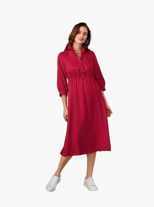 Košeľové blúzkové šaty - červená