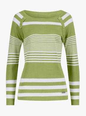 Collection L Pullover - kiwi-weiß-gestreift