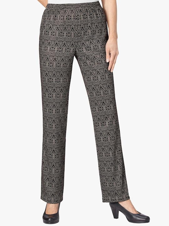 Jersey pantalon - taupe gedessineerd