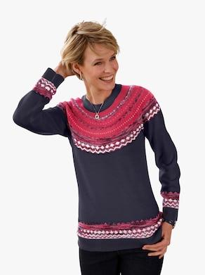 Pullover - nachtblauw gedessineerd