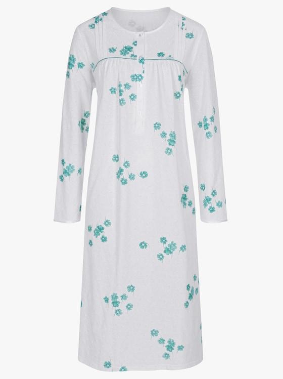 Arabella Nachthemd - weiß-mint