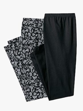 Legging - zwart + zwart geprint