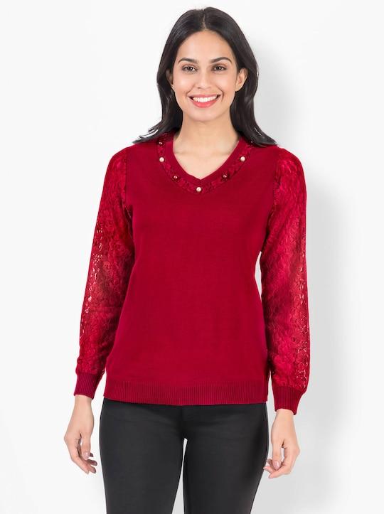 Pullover van kant - rood