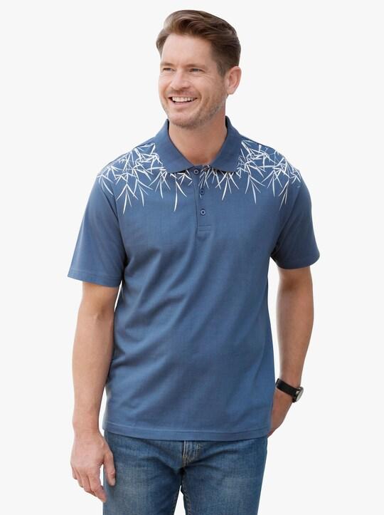 Poloshirt - jeansblau-bedruckt