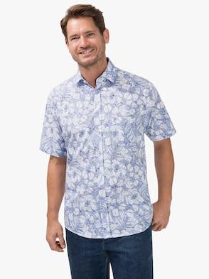 Kurzarm-Hemd - blau-weiß-gemustert