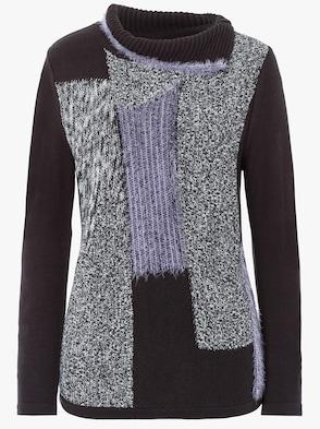 Pullover - schwarz-lila-gemustert