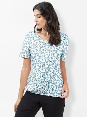 Shirt - wit/oceaan bedrukt
