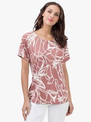 Shirt - rosenholz-ecru-bedruckt