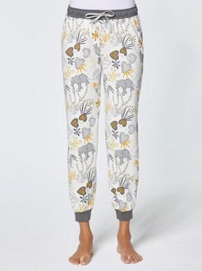 wäschepur Schlafanzug-Hose - ecru-gemustert