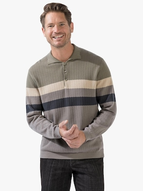 Pullover - taupe-gestreift