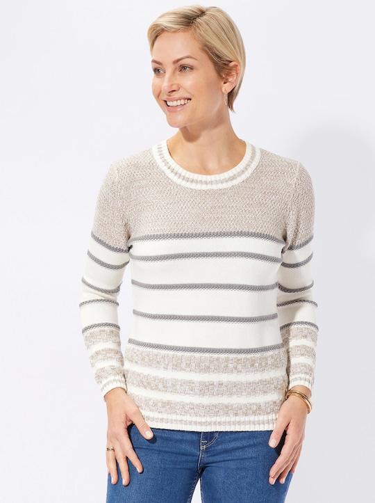 Collection L Pullover - stein-geringelt