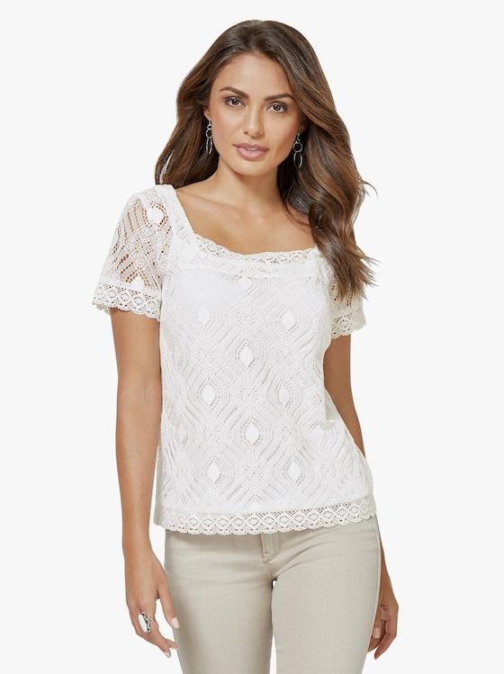 Spitzen-Bluse - weiß