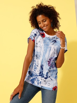 Shirt - wit/blauw gedessineerd