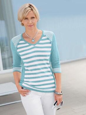Pullover - aqua-weiß-gestreift