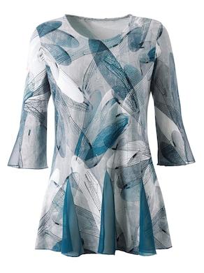 Lang shirt - grijs/petrol gedessineerd